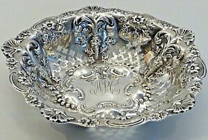 1897 STERLING SILVER SMALL PIERCED BOWL W/ STYLIZED FLOWER, LEAVES & SHELLS