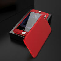 New Red 360° For iPhone5 6 6S 7 Plus PC Hard Thin Funda Carcasa + Tempered Glass
