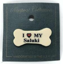 Vintage Dog Bone Pin: I Love My Saluki | Made In Usa | Hat Backpack Pinback New