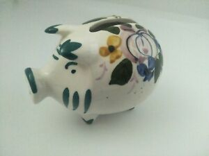 SMALL VINTAGE Hand painted piggy bank floral flowers design marked foreign