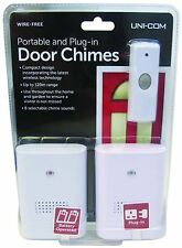 Uni-Com UniCom Portable and Plug in Twin Pack Push Door Bell Chime 120m