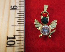 14 KT GOLD EP BIRTHSTONE MAY EMERALD  CAT ANGEL CHARM PENDANT