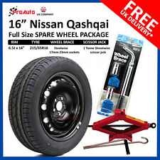 "NISSAN QASHQAI 2007 - 2017 FULL SIZE STEEL SPARE WHEEL 16""  AND TYRE + TOOL KIT"