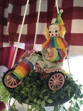 Vintage Ceramic Clown Bicycle Circus Figurine Collectible Home Decor Hand Paint