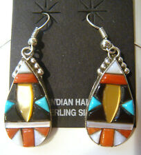 Zuni Unique Earrings Signed LM Sterling Silver with Multi-Stone Raised Inlays