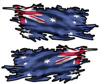 AUSTRALIA RIPPED FLAG LEFT & RIGHT VINYL DECAL 100MM BY 40MM GLOSS LAMINATED