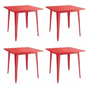 """4 PACK 32"""" Square Red Metal Patio Restaurant Dining Table For Outdoor Use"""