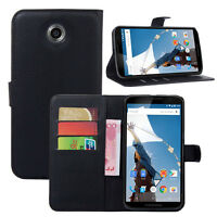 For Google Motorola Nexus 6 Flip Card Wallet PU Leather Case Stand Cover Skin