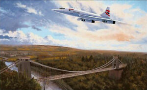 British Airways Concorde over Clifton Bridge, Bristol print signed by 6 Aircrew