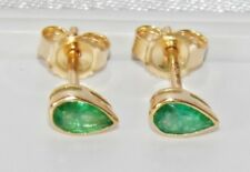 9ct Gold 0.50ct Emerald Pear Cut Solitaire Ladies Stud Earrings - Gift Boxed
