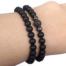 Fashion Men's 6MM Matte Onyx Rhodium Plated Zircon Disco Ball Beaded Bracelet