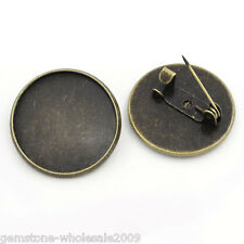 "20 PCs Bronze Tone Round Cameo Frame Setting Brooches 22mm Dia.( 7/8"") GW"