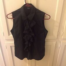 Ralph Lauren black cotton sleeveless blouse with ruffle in size 4