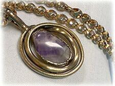Heavy Gold / Silver Tone Unusual Link Chain Purple Quartz Stone Pendant Necklace