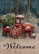 Home Decorative Welcome Christmas Garden Flag Red Truck Double Sided, Usa