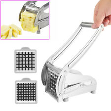 French Fries Cutter Stainless Steel Potato Chipper Chips Chopper Slicer 2 Blades