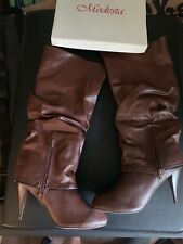 Modesta High Heel Boots Zipper Strap Faux Leather  NEW Brown Size 10