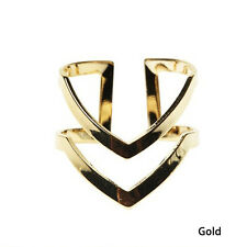 1pc Fashion Double Layers V-shaped Alloy Finger Knuckle Ring Jewelry Gold/silver Gold