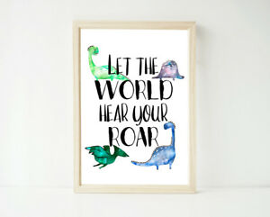 Dinosaur Roar, Poster Prints, Boy's Baby Decor Wall Art