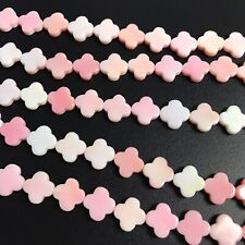 "15.5"" - Natural Pink Queen Conch Shell 10mm Clover Beads, NEW DIY Design Sale"