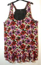 RED PURPLE BLACK FLORAL LADIES CASUAL TUNIC DRESS SIZE 22 PAPAYA FULLY LINED