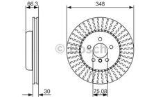1x BOSCH Disco de freno delantero Ventilado 348mm 0 986 479 772