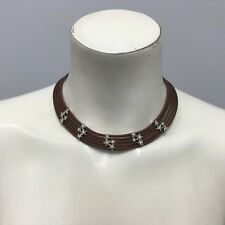 BELLE ETOILE COSMOS NECKLACE STERLING SILVER BROWN ITALIAN RUBBER 5 STRAND STARS