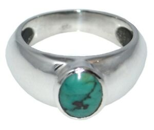 Turquoise Gents Ring Genuine Gemstone Mens 925 Band Sizes O to R
