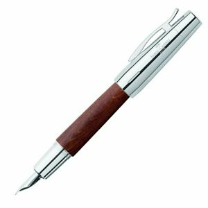 Faber-Castell E-Motion Fountain Pen in Wood & Chrome Brown - Broad Point NEW