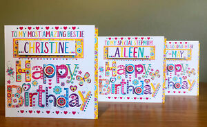 Special birthday card for girl female special female Personalised pretty card