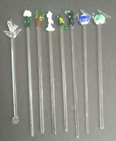 Lot of 8 Vintage Set Glass Swizzle Sticks Stir Cocktail Stirrers
