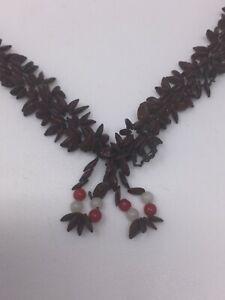 Vintage 1960s Appleseed Hippie Tassel Folk Art Necklace w/ Red & White Beads