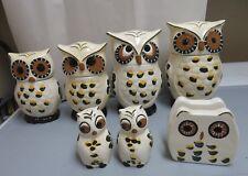 ACK Hand Painted Ceramic Owl 4 Pc. Canister Set #81601+ Napkin Holder, S&P New