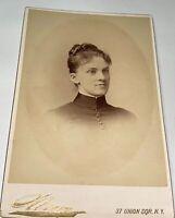 Rare Antique Victorian American Woman, A. Wyckoff! Sarony NY Cabinet Photo! US!