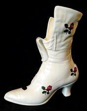 Vintage Ceramic Ladies Boot Flower Bud Vase Victorian Bootie White w Roses
