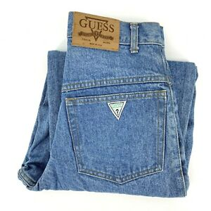 Vintage USA Made GUESS Triangle Pocket Tapered Leg Mom Jeans Womens 26 x 32