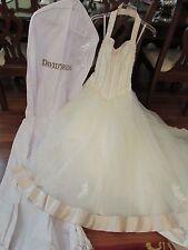 DAVID'S BRIDAL WEDDING DRESS SIZE 16 IVORY/PINK TRIM HALTER SWEETHEART NECKLINE.