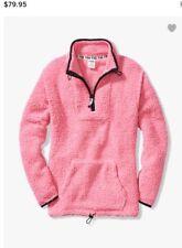 Victoria's Secret Pink Sherpa Quarter Zip Pullover PINK XS NEW