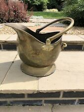 Vintage Brass Coal Scuttle Fire Side Log Bucket Handled Helmet / Planter