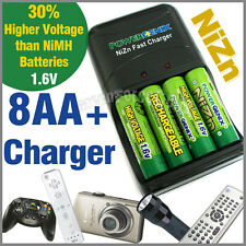 8 AA 1.6V NiZn 2500mWh Rechargeable Battery + Charger PowerGenix New
