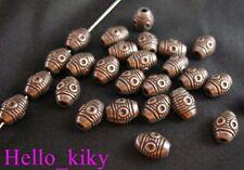 90 Antiqued copper plt eyed barrel spacer bead A49