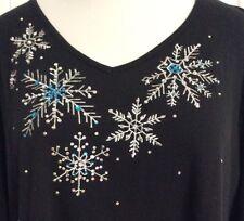 NEW~ULLA POPKEN~Black Aqua Silver Snowflake Tunic Plus Size Blouse Top~28/30/4X