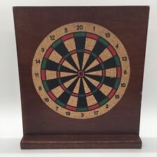 Vintage Mini Wooden Dart Board With Stand No Darts