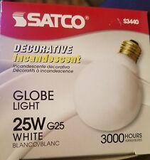 Satco Globe Light Bulbs (2) White Frost Decorative Incandescent 160 Lumens S3440