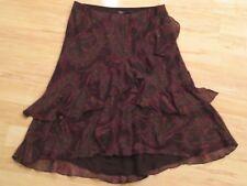 Women's Chaps Stretch Knee Length Brown Sheer Paisley Ruffled Skirt Size XL