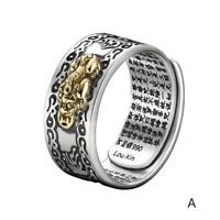 Frauen & Männer Ring Pixiu Charme Amulett Reichtum Justierbarer Geöffneter Y8Z0