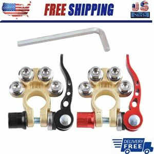 2Pcs Car Battery Terminal Connector Clamp Quick Release Adjust Disconnect Tool