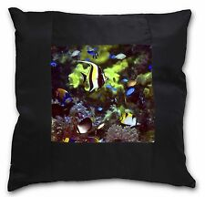 Tropical Fish Black Border Satin Feel Cushion Cover With Pillow Inse, AF-T40-CSB