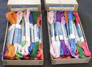 51 SKEINS VTG HEARTHSIDE 6 STRAND EMBROIDERY FLOSS ASSORTED COLORS NIB