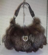 fox  fur Women Bag Handbag Shoulder Messenger Bag Leather Satchel Purse Tote